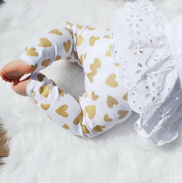 Gold Shimmery Heart Leggings