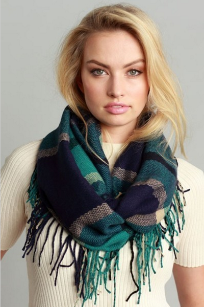 Fall infinity (Green Blue Plaid Fringe)