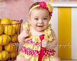 Fuscia and Yellow Satin Romper