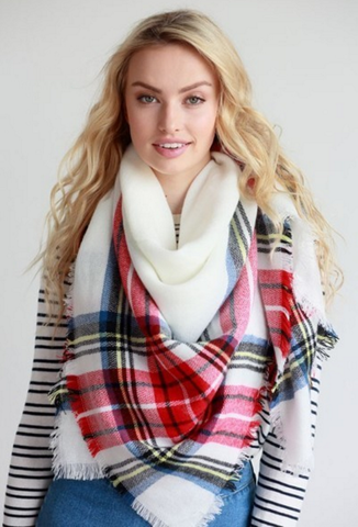 Fall Blanket Scarf (Ivory & Red)