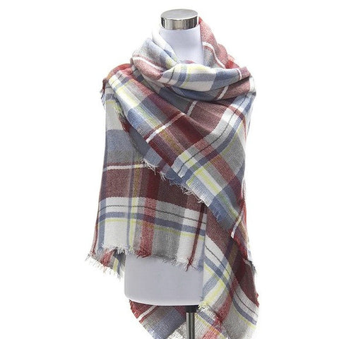 Fall Blanket Scarf (Blue & Red)