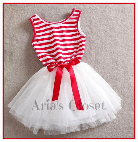 Penelope Tutu Dress (Red Stripe)