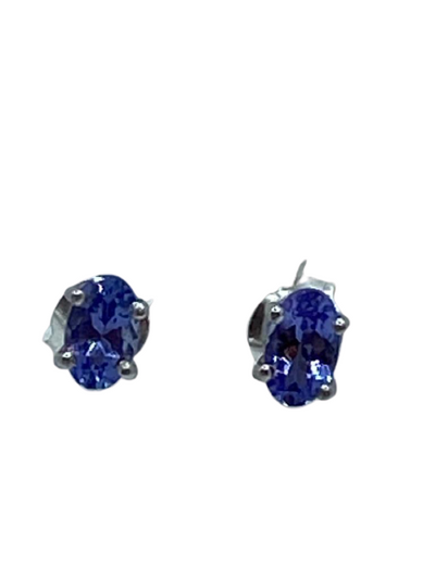 Authentic Tanzanite Gem Stud Earrings 0.56Ct Oval 5x3mm 925 Sterling Silver 18K White Gold Rhodium AAA