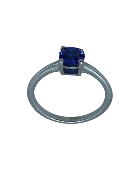 Authentic Tanzanite Gem Round Twist/Round Ring 925 Sterling Silver, 18k White Gold Rhodium AAA