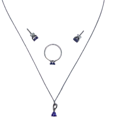 Authentic Tanzanite Trillion Set 925 Sterling Silver,18k White Gold Rhodium Coated AAA