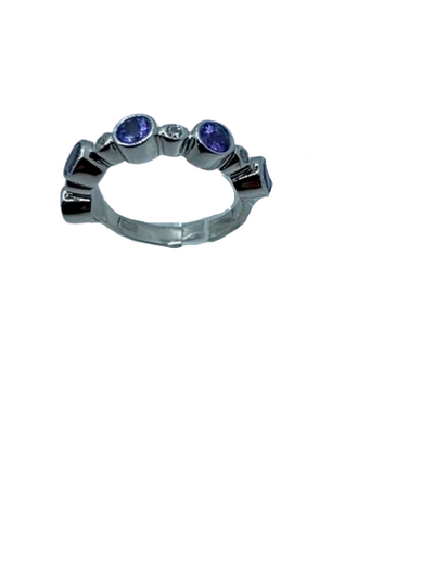 Authentic Tanzanite Round Gem 1.5 Ct Band 925 Sterling Silver, 18k White Gold Rhodium coated AAA