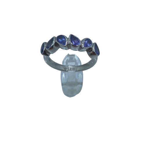 Authentic Tanzanite Pear Gem 1.28Ct Band 925 Sterling Silver, 18k White Gold Rhodium Coated  AAA