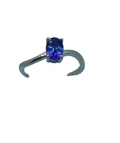 Authentic Tanzanite Oval Gem 0.86Ct Twist Ring 925 Sterling  Silver, 18k White Gold Rhodium coated AAA