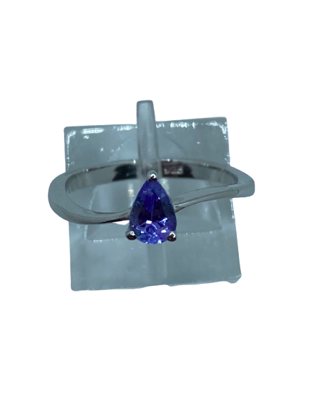 Authentic Tanzanite Gem Pear Twist Ring 925 Sterling Silver, 18k White Gold Rhodium Coated AAA