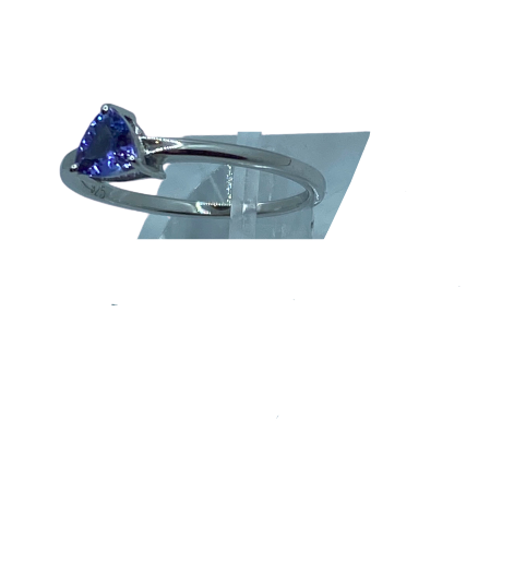 Authentic Tanzanite Trillion Gem 0.50Ct 5mm Ring 925 Sterling Silver,18k White Gold Rhodium Coated AAA