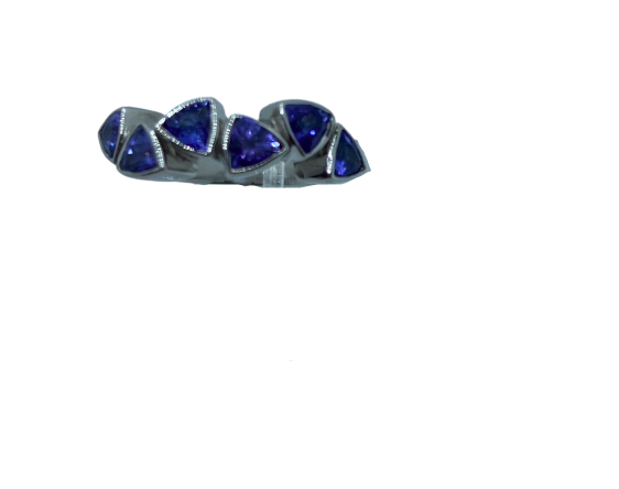 Authentic Tanzanite Trillion 4mm Gem 1.86Ct Band 925 Sterling Silver, 18k White Gold Rhodium Coated AAA
