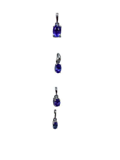 Authentic Tanzanite Pendants 925 Sterling Silver, 18k White Gold Rhodium Coated AAA