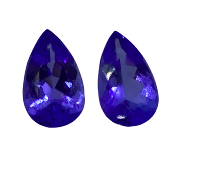 Authentic Pear 4.64Ct Tanzanite Gemstones AAA - Pair