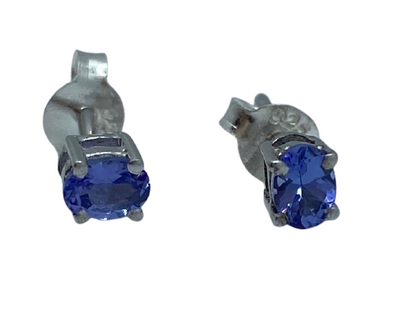 Authentic Tanzanite Gem Stud Earrings 0.42Ct Oval 4x3mm 925 Sterling Silver 18K White Gold Rhodium Coated