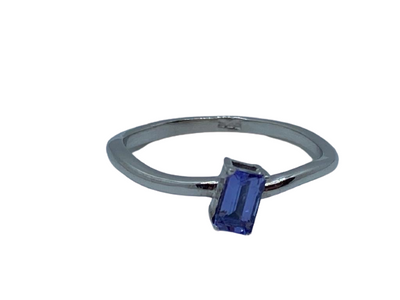 Authentic Tanzanite Emerald Twist Ring 925 Sterling Silver, 18k White Gold Rhodium coated AAA