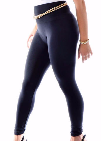 High Waisted Thick Seamless Matte Leggings  - Mannix Knight United Kingdom -  L/XL / Black - 1