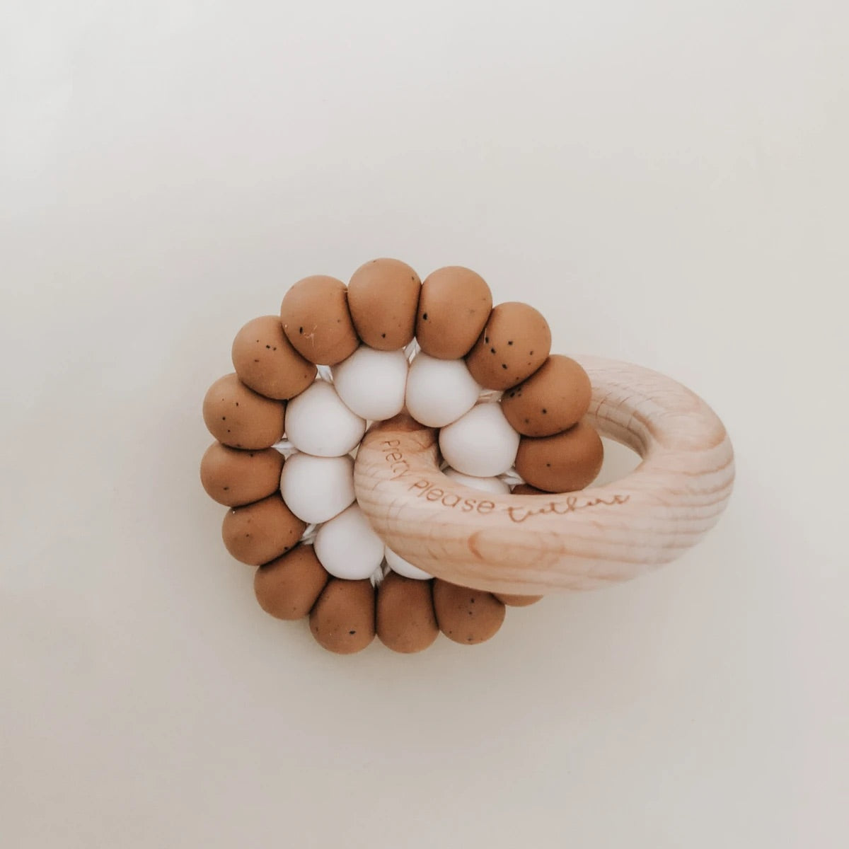 Reed Teething Ring - Speckled Almond
