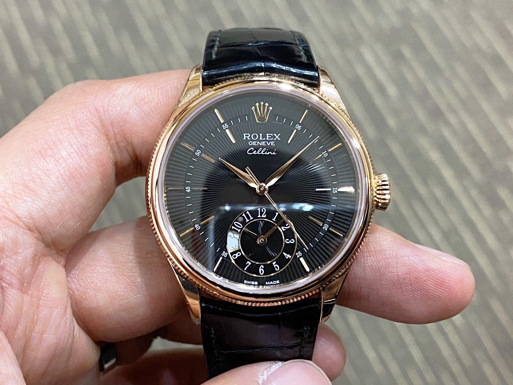 -Like New- Rolex Cellini Dual Time Everose Gold 50525