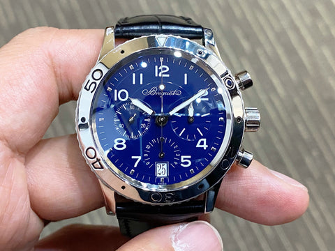 -Like New *Price On Request*- Breguet Type XX Platinum Blue 3820 Full Service Done Nov 2019
