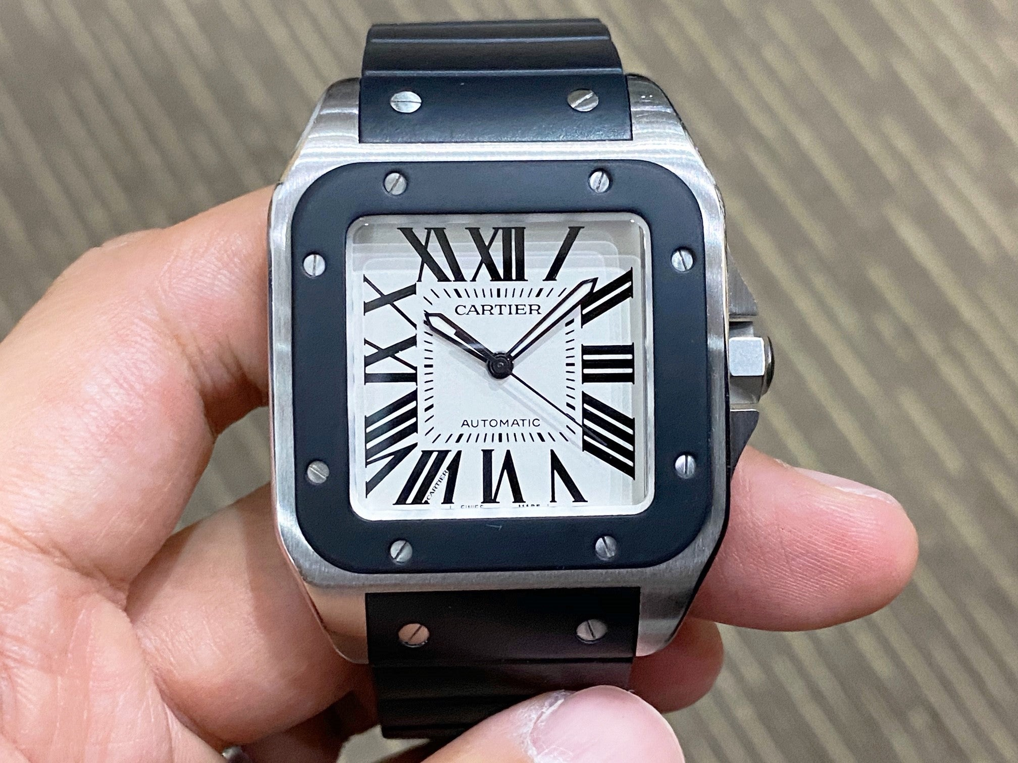 -Pre Owned- Cartier Santos 100 Large Steel Rubber W20121U2
