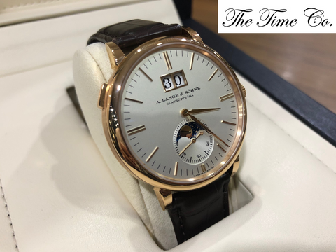 -Pre Owned- A. Lange & Sohne Saxonia Moonphase 18k Rose Gold