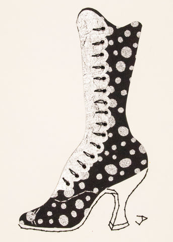 1890s Boot in Black & Silver