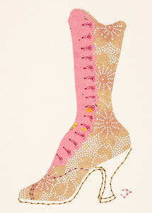 1890s Boot in Brown & Pink