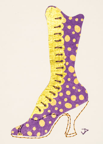 1890s Boot in Gold Spots on Lilac