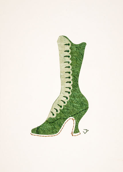 1890s Boot in Shimmering Green