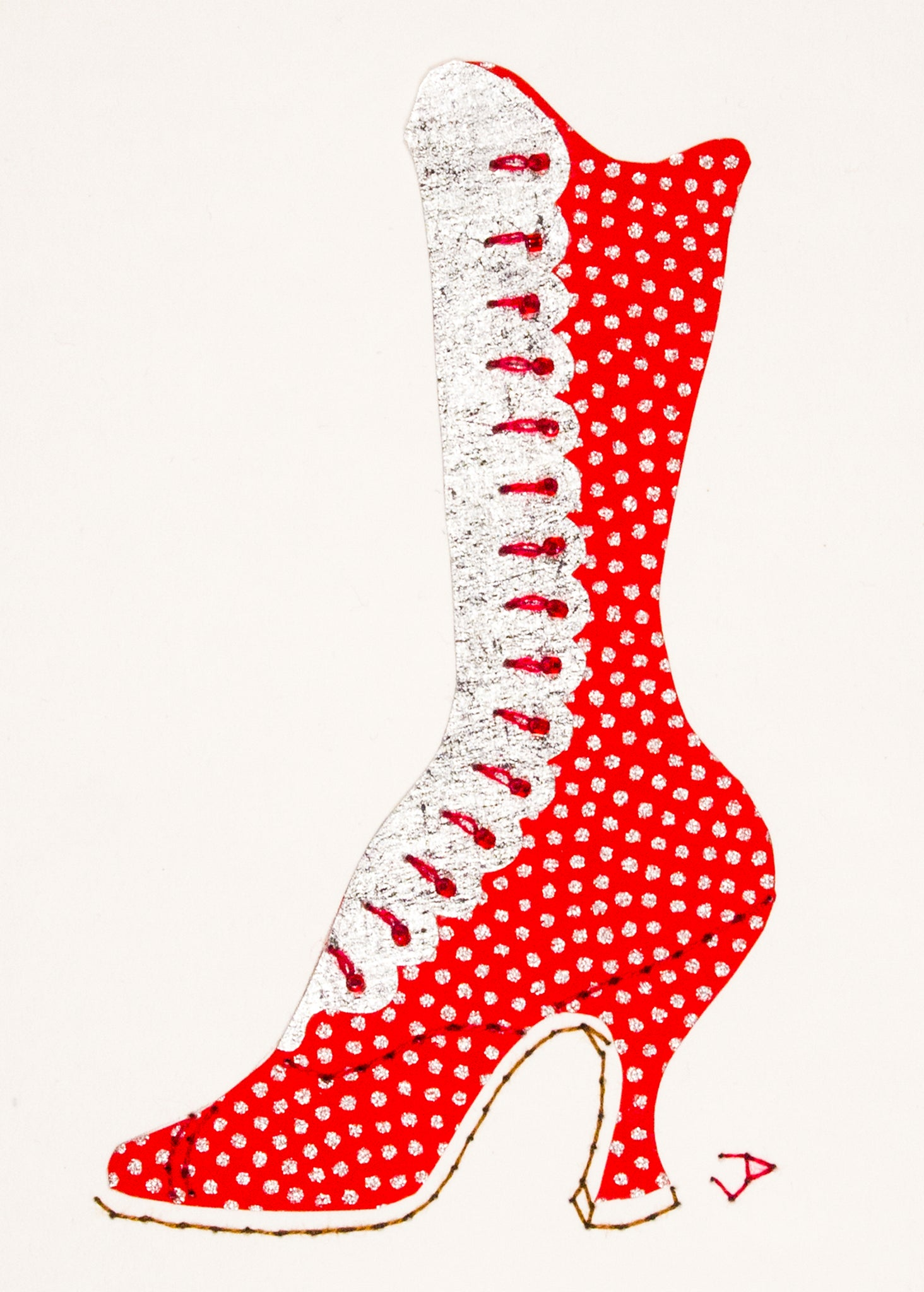 1890s Boot in Red with Silver Dots