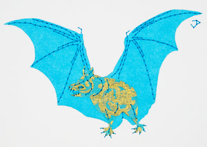 Vampire Bat in Turquoise & Gold