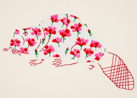 Beaver in Red & Pink Flowers on Silver