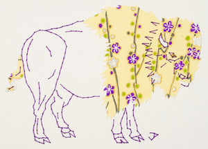 Bison in Purple & Pale Yellow
