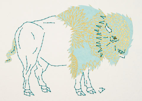 Bison in Gold & Tiffany Blue