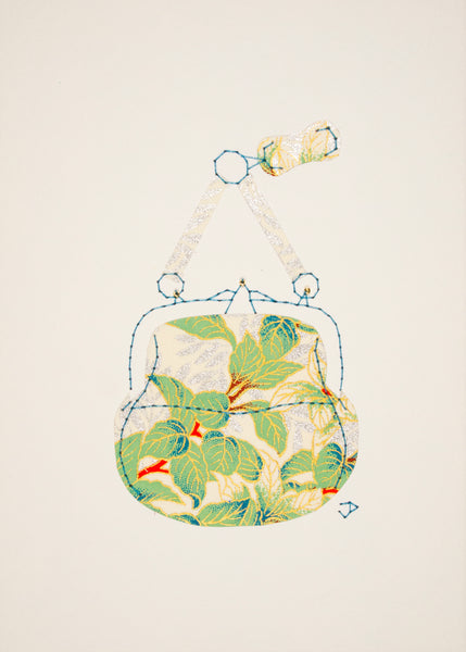 Chatelaine Handbag in Green Leaves
