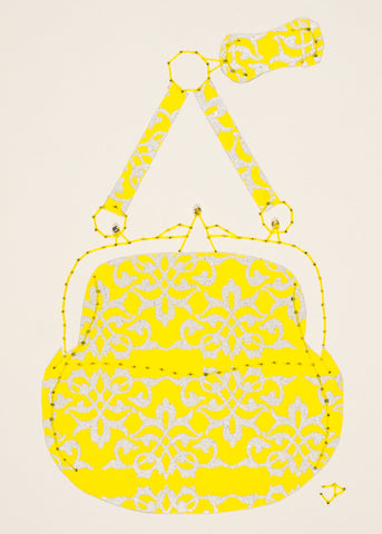 Chatelaine Handbag in Silver Filigree on Yellow