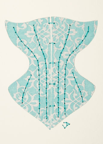 Victorian Corset in Silver Filigree on Pale Turquoise Blue
