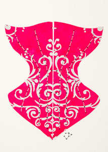 Victorian Corset in Silver Filigree on Bright Pink