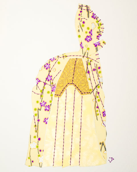 Dress #002: Victorian dress in pale yellow, gold, and purple