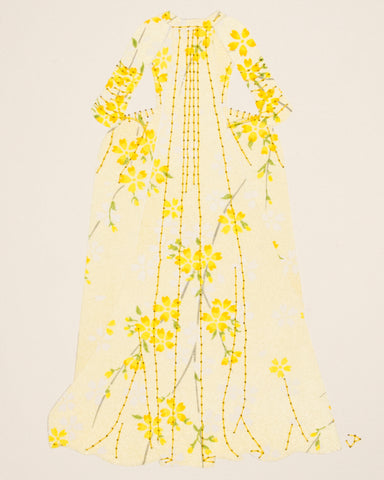 Dress #013.4: Robe à la française in pale yellow. 2019