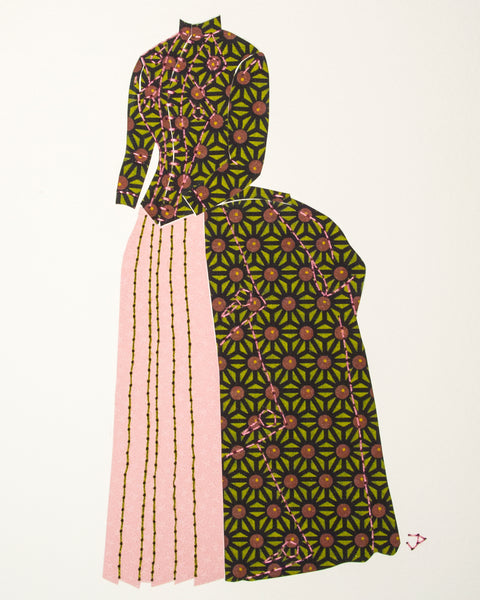 Dress #004: Victorian dress in black, lime and pale rose
