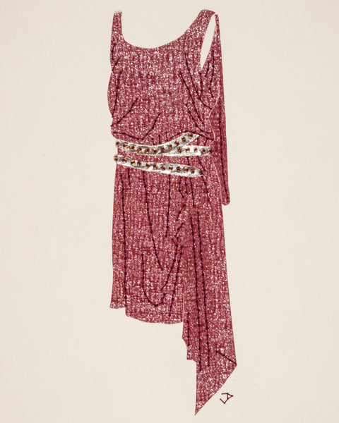 Dress #079.3: 1920s dress in wine and silver