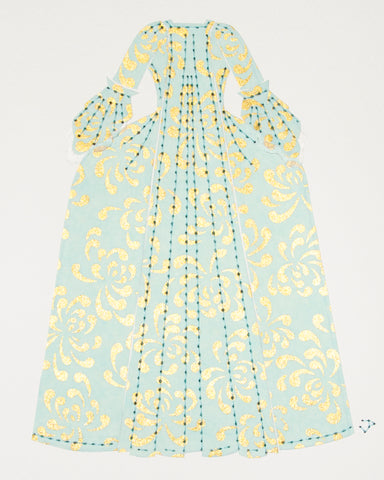 Dress #007: Robe à la française in gold and turquoise: rear view. 2014