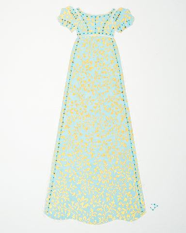 Dress #010: Regency dress in mint and gold: front view. 2014