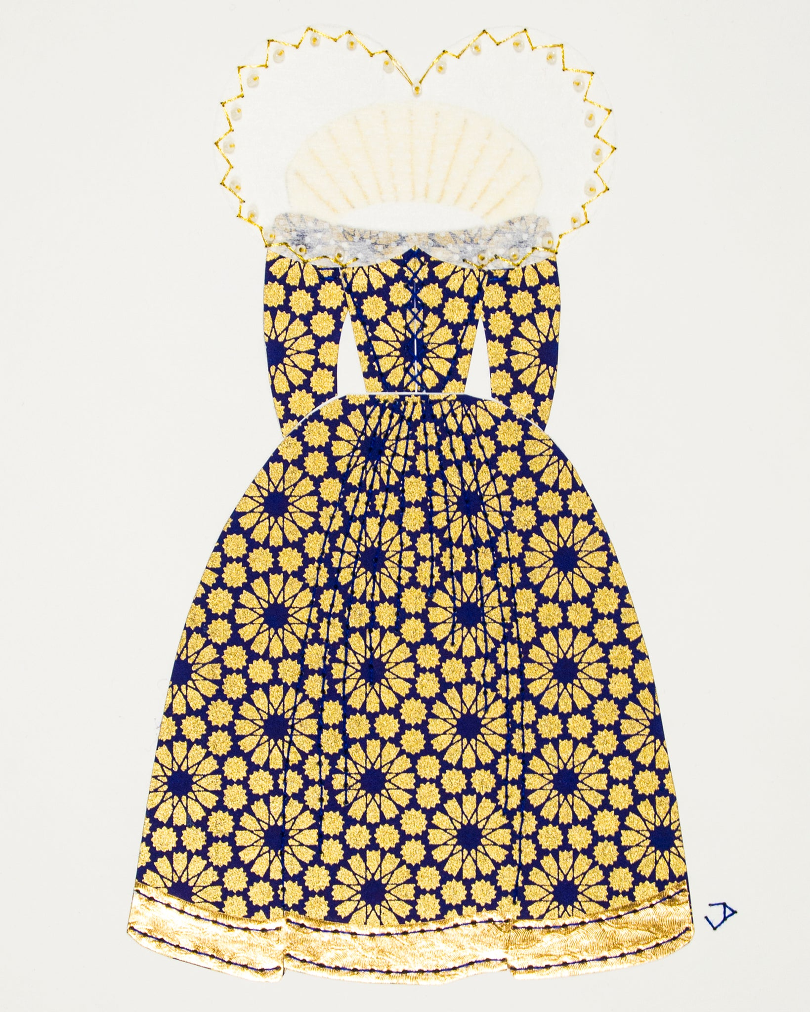 Dress #021.2: Queen Elizabeth I gown in blue and gold: rear view. 2017