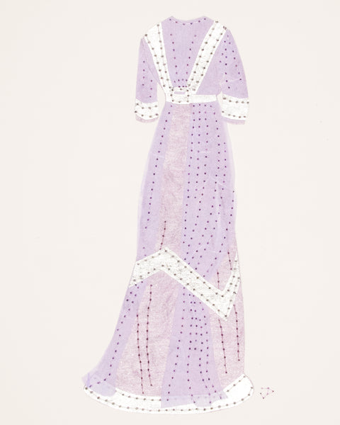 Dress #050.3: Edwardian evening gown in lilac and silver