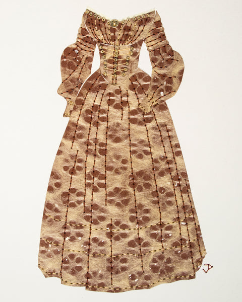 Dress #058: Early Victorian day dress in brown. 2018