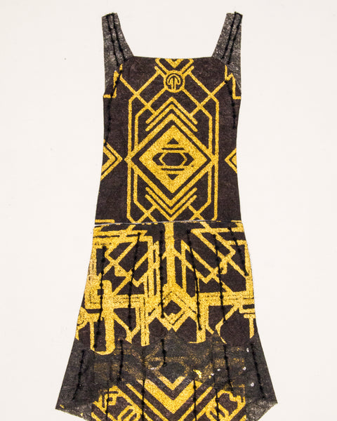 Dress #071.6: 1920s dress in black and gold