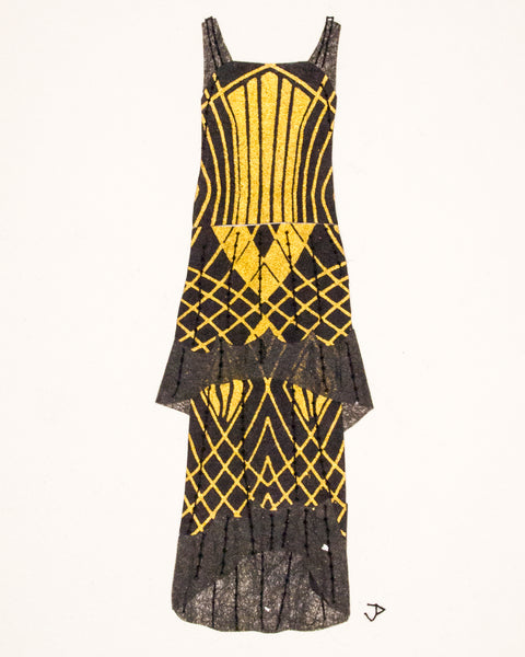 Dress #071.7: 1920s dress in black and gold
