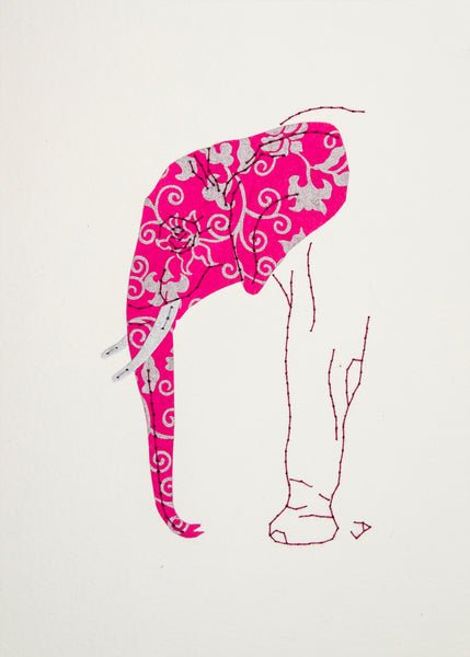 Elephant in Silver & Magenta